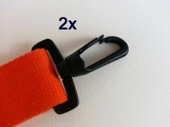 2 drehbare Karabinerhaken 4 cm breit