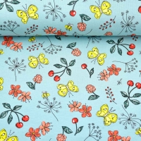 Jerseystoff Schmetterlinge Blumen Kirschen,gelb hellmint