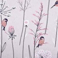 Dekostoff Vögel Blumen Leinenoptik , altrosa natur