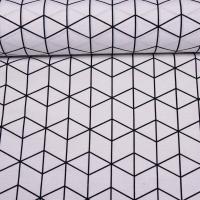 Dekostoff Würfelmuster, schwarz auf weiß