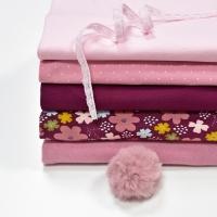 Jerseystoff Blumen GOTS, altrosa bordeaux