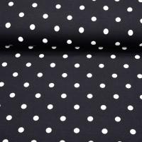RESTSTÜCK 72 cm Jerseystoff Punkte 1 cm, weiß schwarz