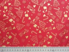 Baumwollstoff Weihnachtsbäume Nikolausstiefel Glitzer, gold rot
