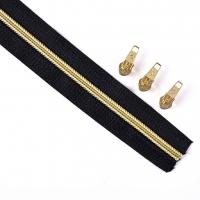 endlos Reißverschluss metallisiert GOLD 5 mm Spirale + 3 Schieber, schwarz