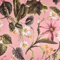 Canvas Stoff Blumen tropische Blätter Digitaldruck, altrosa