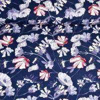 Viskosejersey Blumen, weinrot weiß dunkelblau