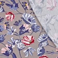 Viskosejersey Blumen, weinrot weiß taupe