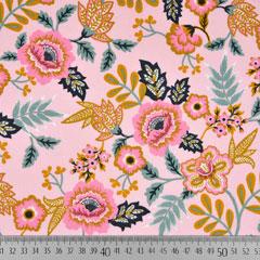 Baumwollstoff Blumen Paisley, mint ockergelb rosa