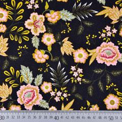 Baumwollstoff Blumen Paisley, schwarz