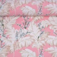 Dekostoff Blätter, weiß rosa