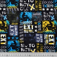 Sweatstoff French Terry Motorrad Extreme, gelb blau schwarz