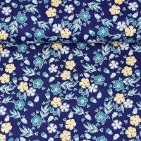 Baumwollstoff Blumen Blätter, gelb petrol dunkelblau