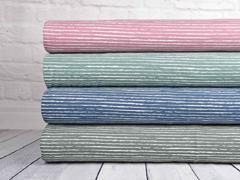 Jersey Stoff Streifen blurry stripes, weiss hellaltrosa
