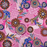 Viskosejersey Mandalas Ibiza Style, mattes pink