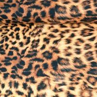 Dekostoff Leopardenmuster Halb Panama,braun schwarz