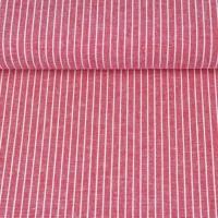 Viskose Leinen Stoff Streifen, weiß rot meliert