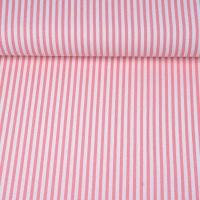 Viskose Leinen Stoff Streifen 4 mm, weiß rosa