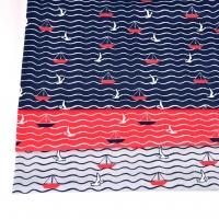 Jerseystoff Segelboote Möwen Wellen, dunkelblau rot grau