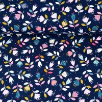 Sweatstoff French Terry Blumen Zweige Blätter, rosa ockergelb dunkelblau