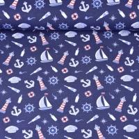 Jerseystoff Segelboote Leuchttürme Anker, dunkelblau