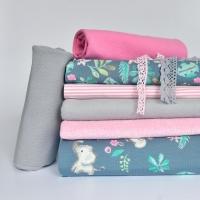 Jerseystoff Elefanten Blumen Blätter, pink mint jeansblau