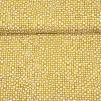 Bio-Baumwollstoff Punkte Kringel, weiß ockergelb ecrue