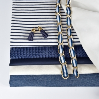 RESTSTÜCK 32 cm Jersey Stoff Streifen, dunkelblau cremeweiß