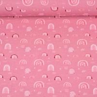 Jerseystoff Regenbögen Herzen Digitaldruck, hellrosa altrosa