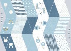 Baumwollstoff Wimpelkette zum Ausschneiden &  Nähen Regenbogen Wolken, weiß blau