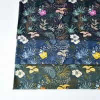 Jerseystoff tropische Blumen Blätter, ockergelb mint dunkelgrün