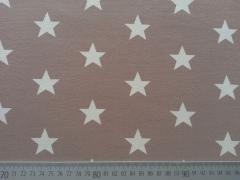 Jersey Sterne 3 cm - weiß auf beige