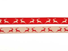 Webband 2 cm Hirsche beidseitig verwendbar, beige rot