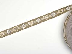 Webband 2cm Bordüre Edelweiß Trachtenlook, taupe