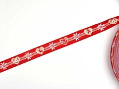 Webband 2cm Bordüre Edelweiß Trachtenlook, rot