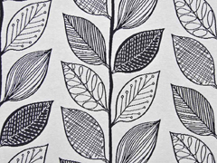 Jacquard Stoff Blätter Doubleface, schwarz weiß