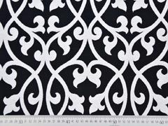 Jacquard Stoff Ornamente Doubleface, schwarz weiß