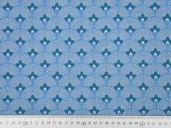 Dekostoff Fächerblumen, jeansblau