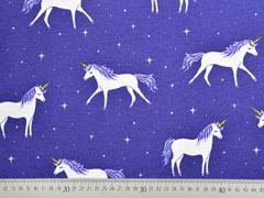 Dekostoff Einhörner Sterne, dunkelblau