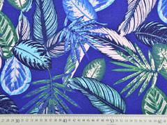 Dekostoff tropische Blätter, blau