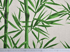 Leinenlook Bambuszweige, grün natur