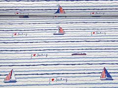 Dekostoff Segelboote maritim, dunkelblau weiß