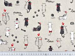 Leinenlook Dekostoff Katzen, schwarz rot natur