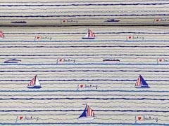 Leinenlook Dekostoff Segelboote, blau weiß rot