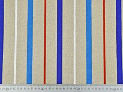 RESTSTÜCK 43 cm Leinenlook Dekostoff Streifen, weiß rot blau