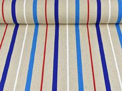 Leinenlook Dekostoff Streifen, weiß rot blau