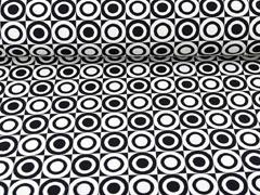 Doubleface Jacquard Kreise, schwarz weiß