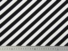 Dekostoff diagonale Streifen, schwarz weiß