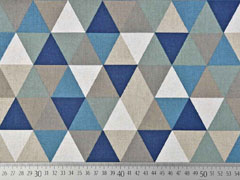 Dekostoff Dreiecke Leinen Optik, dunkelblau taupe natur