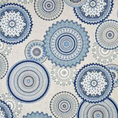Dekostoff Mandalas Leinen Optik, jeansblau natur