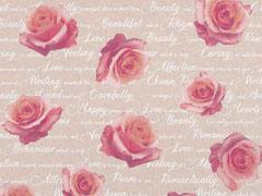 Dekostoff Rosen Love Romance Leinen Optik, pink natur